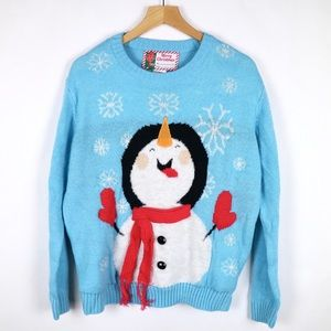 Cute blue Christmas pullover sweater with snowman